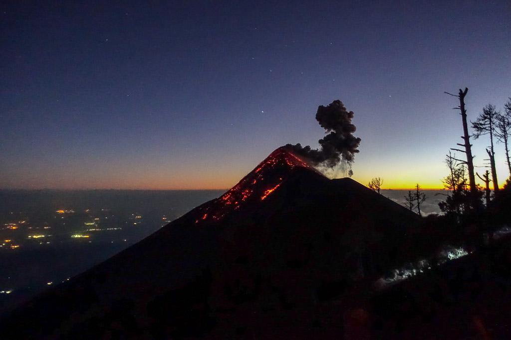 Climbing Volcano Acatenango Fuego Antigua Guatemala lava magma