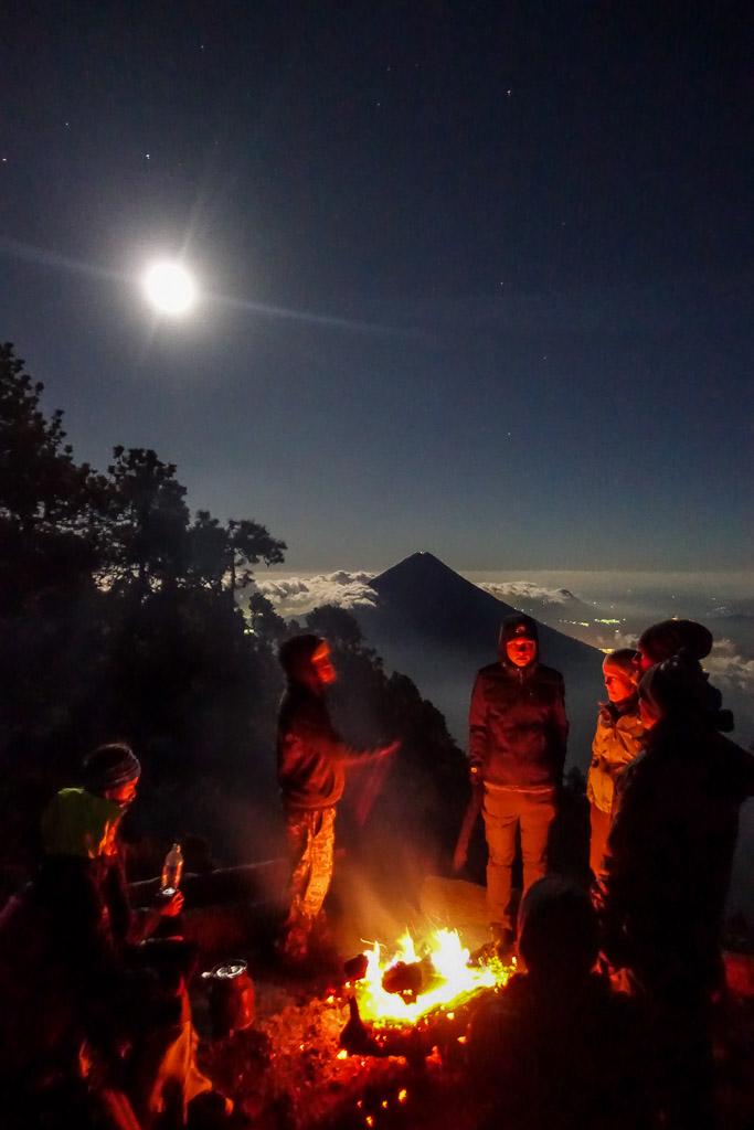 Climbing Volcano Acatenango Fuego Antigua Guatemala camping bondfire