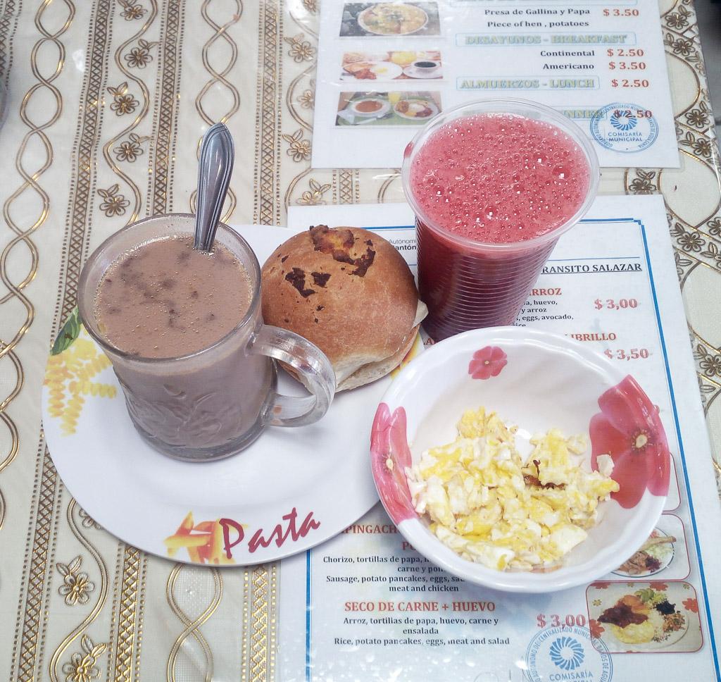 Market breakfast Baños Ecuador