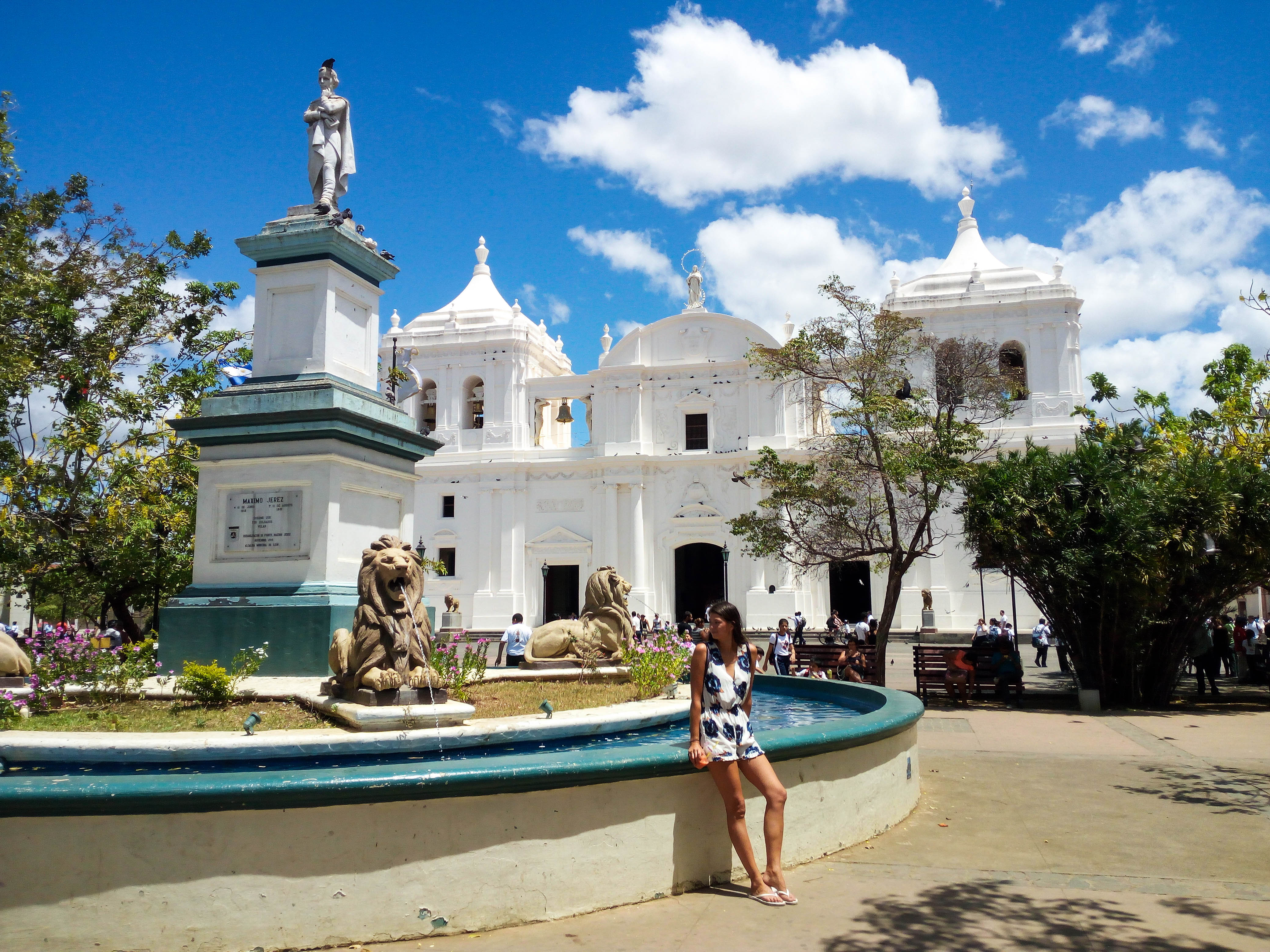 Main square Leon. Two things not to miss out on in Leon, walk on top of a white cathedral and slide down the nearby volcano. Both, in one day if you want to.