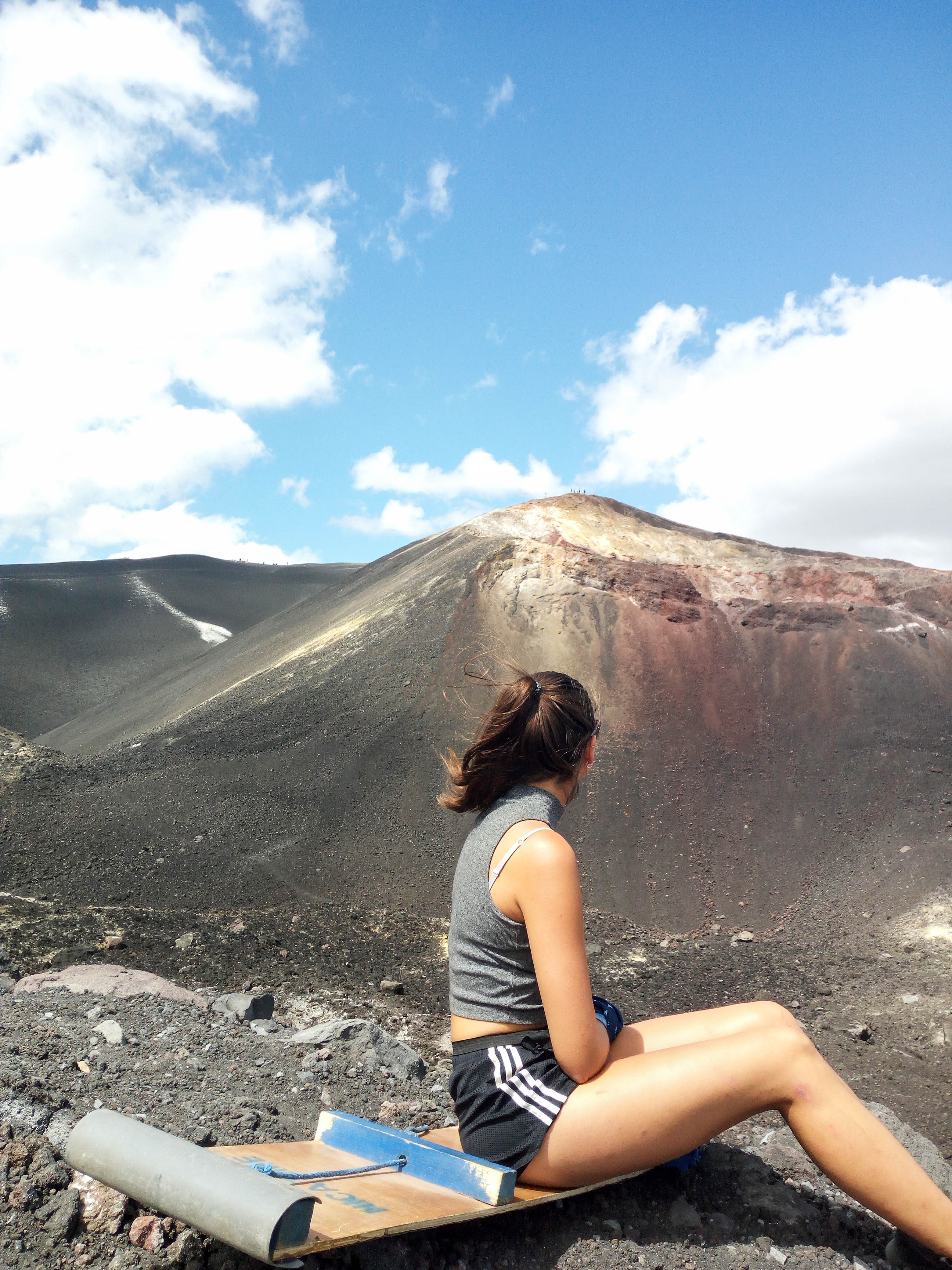 hiking to the tops of Cerro Negro. Two things not to miss out on in Leon, walk on top of a white cathedral and slide down the nearby volcano. Both, in one day if you want to.