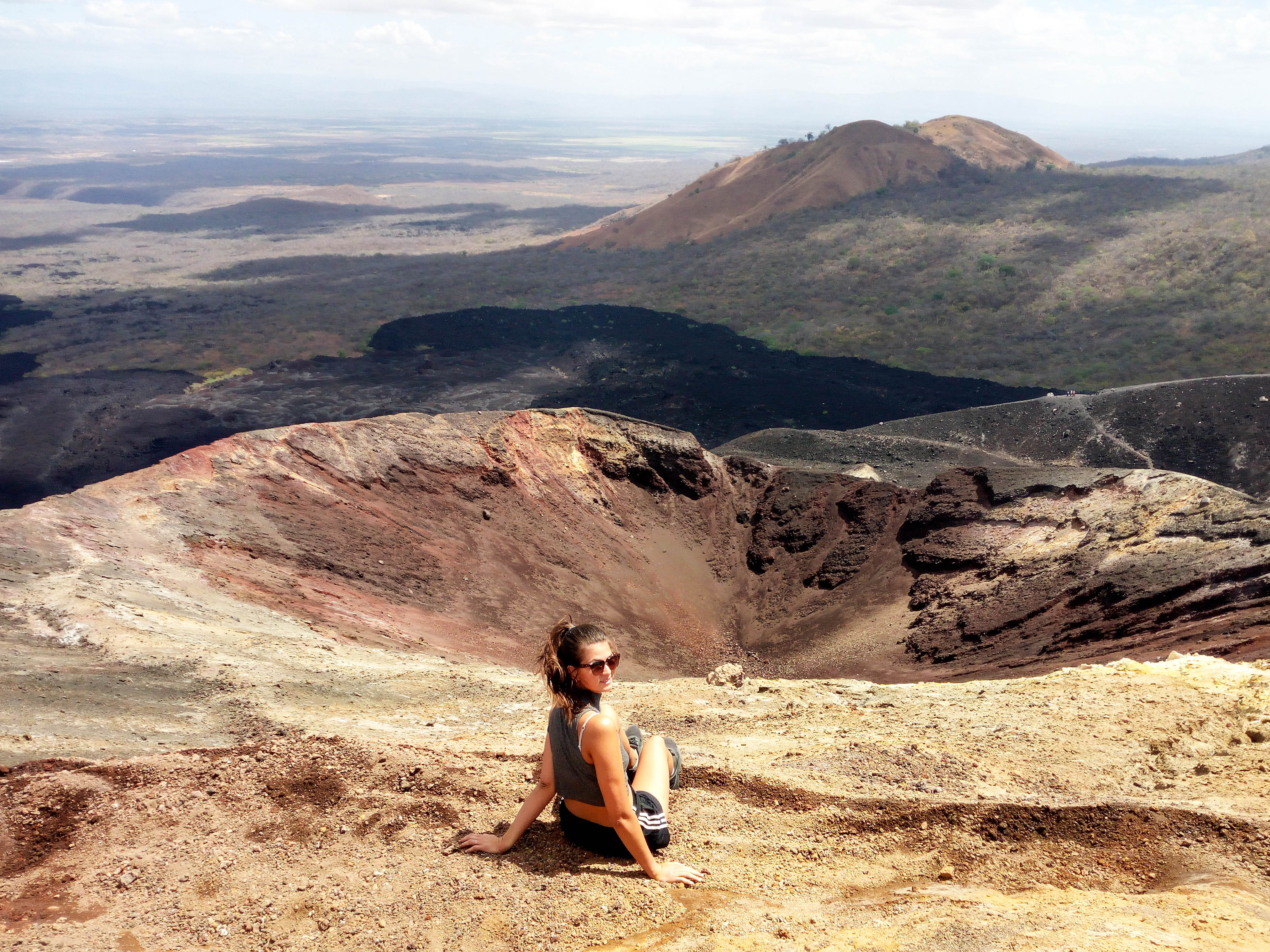 On top of Cerro Negro! Two things not to miss out on in Leon, walk on top of a white cathedral and slide down the nearby volcano. Both, in one day if you want to.