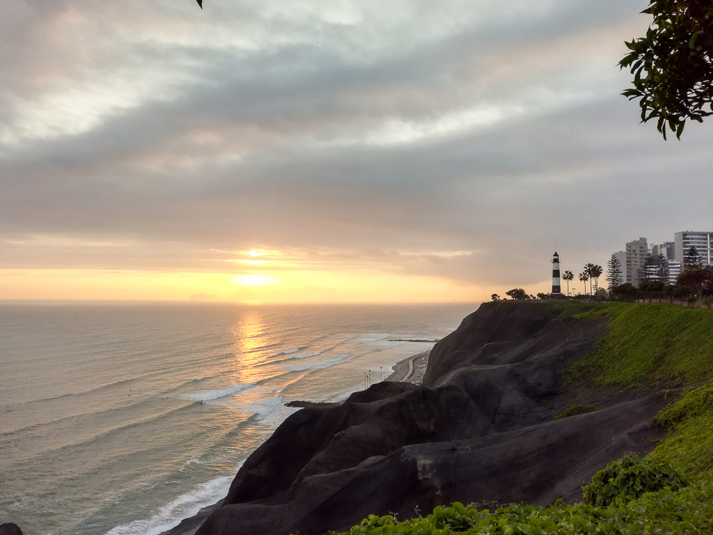 Lima Peru sunset View Miraflores Backpacking Guide